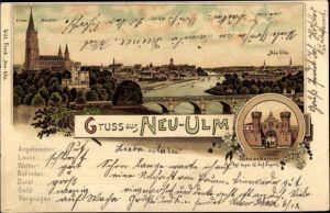 Litho Neu-Ulm in Schwaben, Panorama vom Ort, Münster, Portal d. Kaserne Kgl. bayer. 12. Inf. Regt.