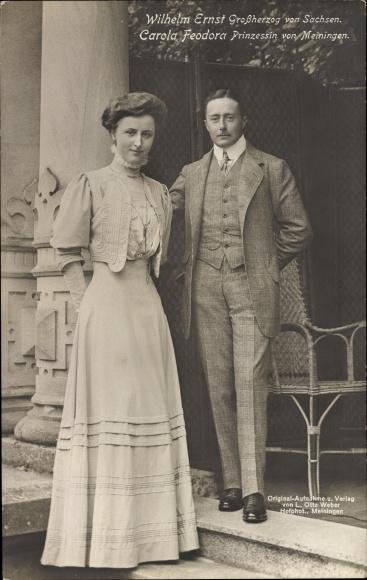 Ak Großherzog Wilhelm Ernst von Sachsen Meiningen, Carola Feodora