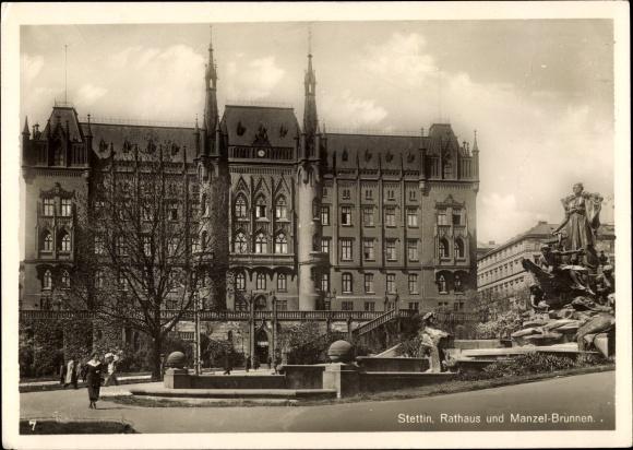 Ak Szczecin Stettin Pommern, Rathaus und Manzelbrunnen