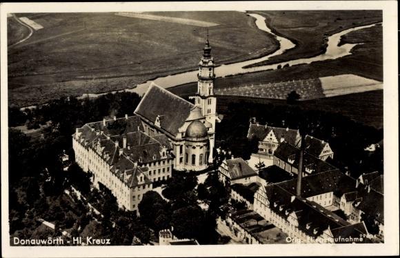 Ak Donauwörth in Schwaben, Hl. Kreuzkirche, Fliegeraufnahme