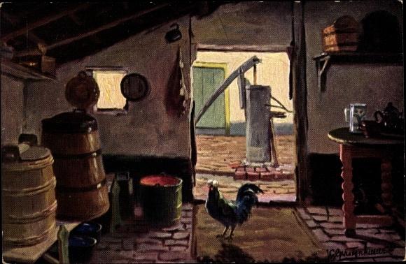 Künstler Ak Gerstenhauer, Johann, Georg, Niederländischer Bauernhof