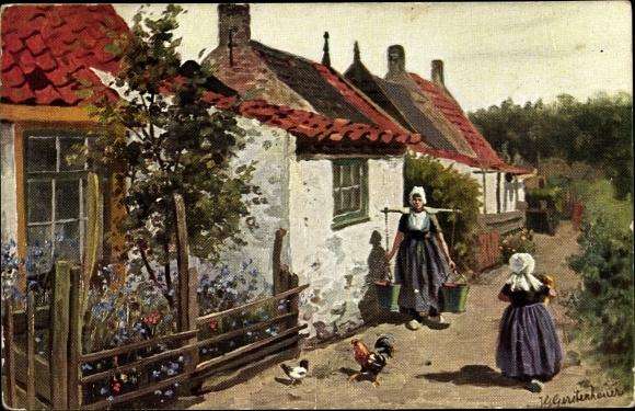 Künstler Ak Gerstenhauer, Johann, Georg, Niederlande, Dorfszene
