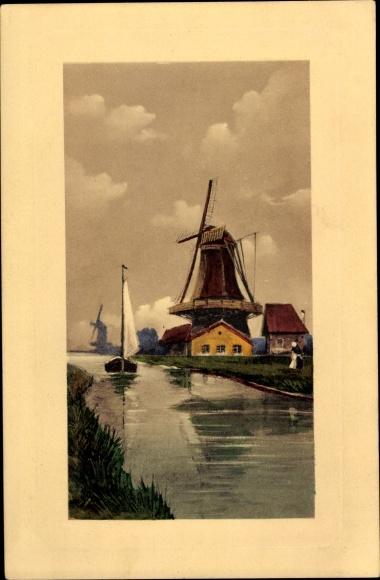 Ak Windmühlen am Wasser, Segelboot