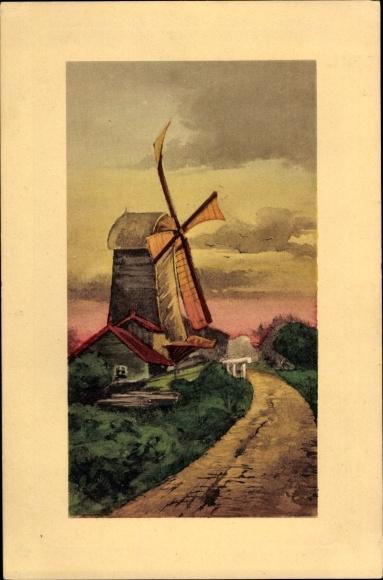 Künstler Ak Windmühle an einem Feldweg