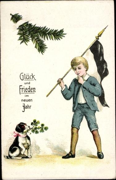 Ak Glückwunsch Neujahr, Junge mit Fahne, Hund, Kleeblätter