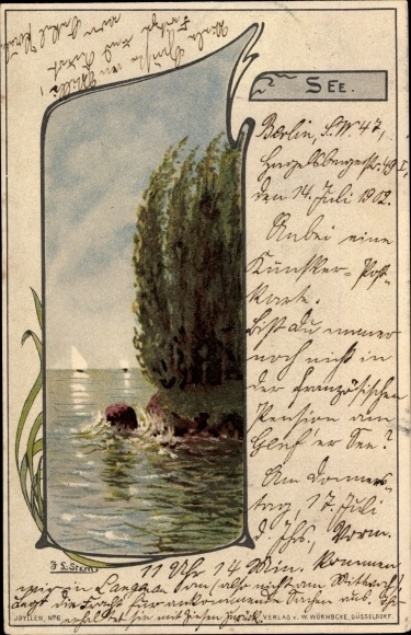 Jugendstil Künstler Litho Stern, J.L., See