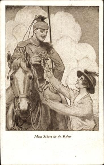 Künstler Ak Mein Schatz ist ein Reiter, Ulane auf seinem Pferd, Junge Frau