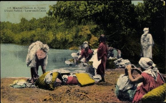 Ak Marokko, Scènes et Types, L'Oued Nefifick, Laveuses de Laine, Waschfrauen