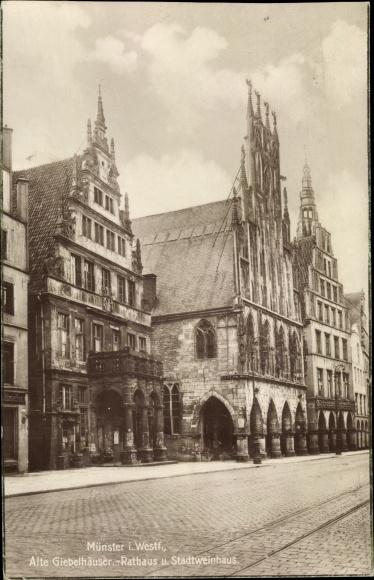 Ak Münster in Westfalen, Alte Giebelhäuser, Rathaus, Stadtweinhaus