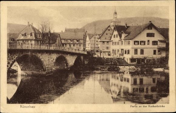 Ak Künzelsau Baden Württemberg, Partie an der Kocherbrücke, Wohnhäuser