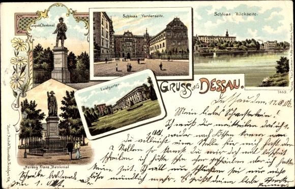 Litho Dessau Sachsen Anhalt, Schloss, Lustgarten, Herzog Franz Denkmal, Leopold Denkmal