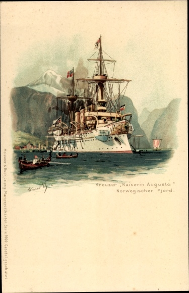 Künstler Litho Bohrdt, Hans, Deutsches Kriegsschiff, SMS Kaiserin Augusta, Kreuzer, Fjord