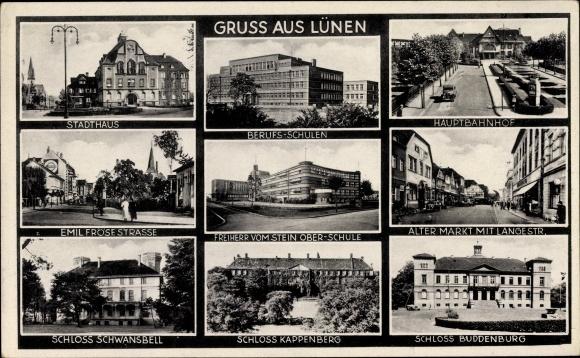Ak Lünen Westfalen, Berufsschulen, Stadthaus, Emil Fröse Straße, Alter Markt, Hauptbahnhof, Schloss