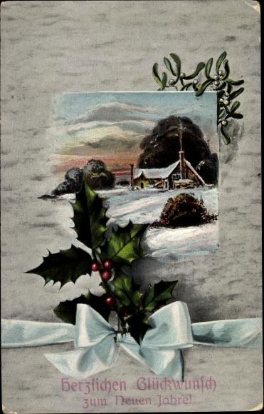Ak Glückwunsch Neujahr, Winterszene, Stechpalmenblätter