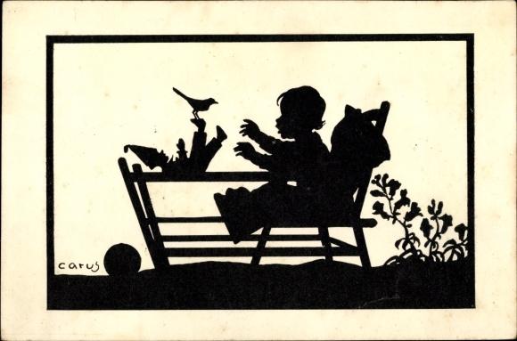 Scherenschnitt Ak Carus, Kleinkind, Kindersitz, Puppe, Vogel