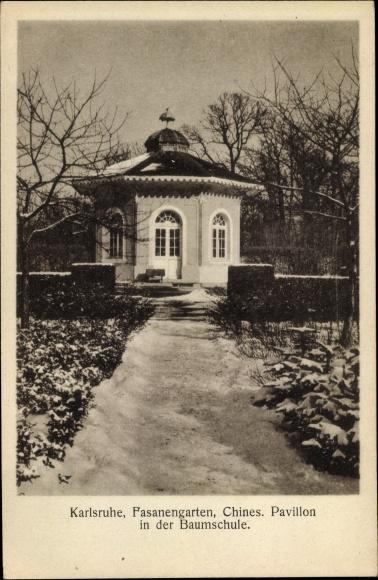 Ak Karlsruhe in Baden Württemberg, Fasanengarten, Chinesischer Pavillon in der Baumschule