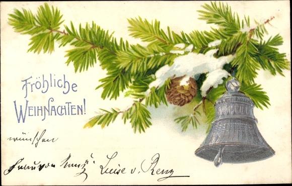 Präge Litho Frohe Weihnachten, Tannenzweig mit Glocke, Zapfen
