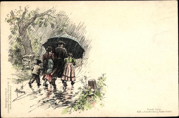 Künstler Litho Hasemann, W., Trachten Baden, Familie unter Regenschirm