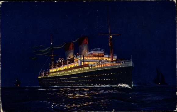 Künstler Ak Doppelschrauben Motorschiff Monte Olivia der HSDG, Nachtbeleuchtung