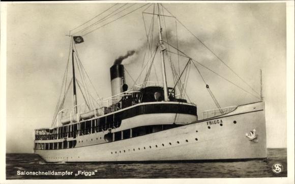 Ak Salonschnelldampfer Frigga auf See, Seebäderdampfer