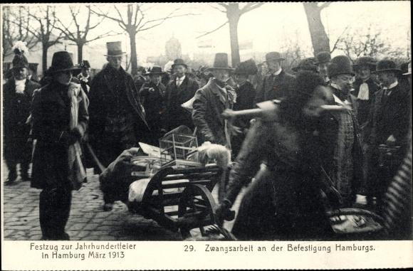 Ak Hamburg Mitte Altstadt, Festzug zur Jahrhundertfeier März 1913, Zwangsarbeit an der Befestigung