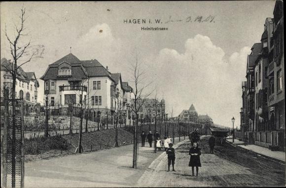 Ak Hagen in Westfalen, Heinitzstraße, Straßenpartie