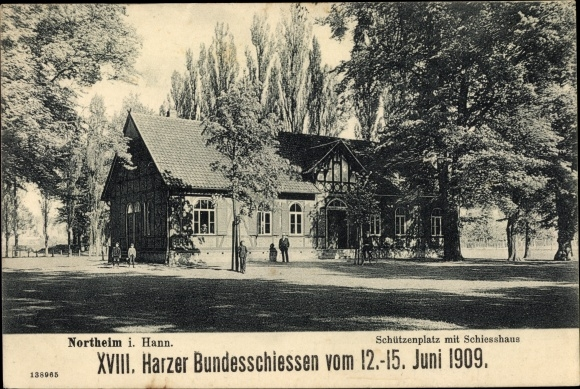 Ak Northeim in Niedersachsen, XVIII. Harzer Bundesschießen 1909, Schützenplatz, Schießhaus