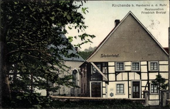 Ak Kirchende Ende Herdecke an der Ruhr, Restauration Freidrich Bratzel, Schenkwirtschaft