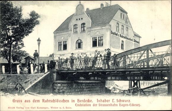 Ak Herdecke an der Ruhr, Ruhrschlösschen, Inh. L. Schwarz, Brücke