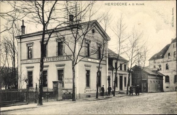 Ak Herdecke an der Ruhr, Hotel Zweibrückerhof, Inh. Otto Mertmann, Straßenpartie
