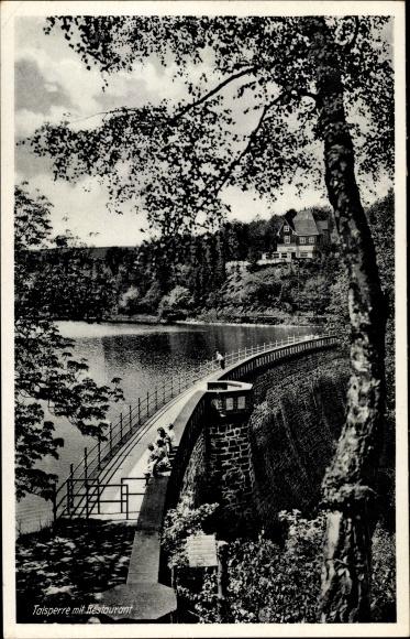 Ak Ennepetal Kluterthöhle, Talsperre mit Restaurant Zur Heilenbecker Talsperre, Inh. Karl Burgmann