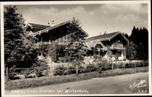 Ak Mariánské Lázně Marienbad Reg. Karlsbad, Jagdschloss Glatzen, Straßenpartie