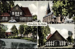 Ak Ahlerstedt Stade, Geschäftshaus M. W. Bammann, Kirche, Ehrenmal, Altes Bauernhaus