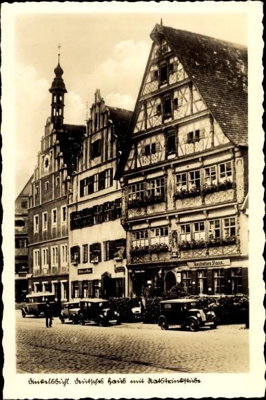 Ak Dinkelsbühl in Mittelfranken, Deutsches Haus mit Ratstrinkstube