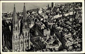Ak Köln am Rhein, Fliegeraufnahme, Kölner Dom