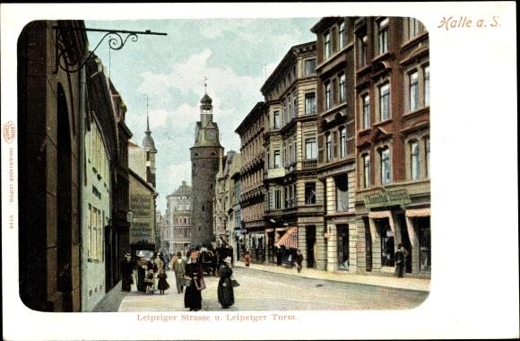 Ak Halle an der Saale, Leipziger Straße u. Leipziger Turm, G. J. Rosenthal