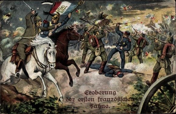 Künstler Ak Eroberung der ersten französischen Fahne, Schlachtszene, I. WK