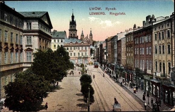 Ak Lwów Lemberg Ukraine, Rynek, Ringplatz, Geschäfte, Straßenbahn, Kirchturm
