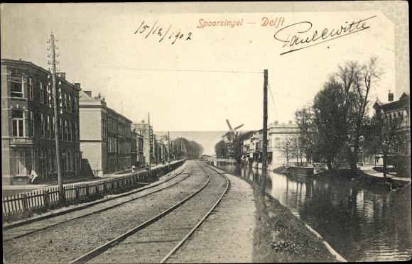 Ak Delft Südholland Niederlande, Spoorsingel, Bahnstrecke