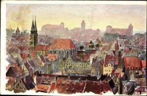 Künstler Ak Kley, Heinrich, Nürnberg, Blick zum Ort, Kirche, Burg