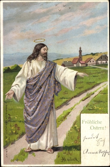 Künstler Litho Mailick, Glückwunsch Ostern, Jesus segnet ein Feld