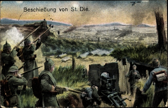 Ak Beschießung von St. Dié, Schlachtszene, Artillerie, I. WK