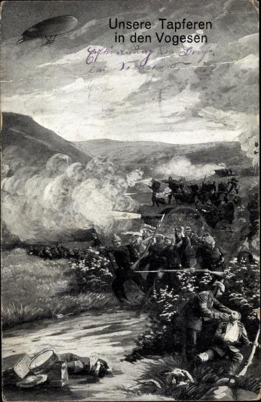 Ak Deutsche Soldaten in den Vogesen, Schlachtszene, Zeppelin, I. WK