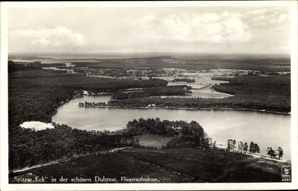 Ak Dubrow Müllrose in Brandenburg, Spitzes Eck, Klinke Fliegeraufnahme 9685