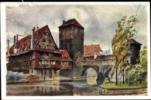 Künstler Ak Kley, Heinrich, Nürnberg in Mittelfranken Bayern, Blick auf Henkersteg