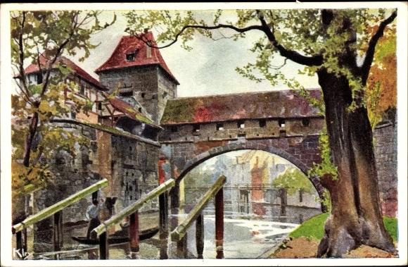 Künstler Ak Kley, Heinrich, Nürnberg in Mittelfranken Bayern, Kasematten, Brücke