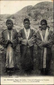 Ak Tonkin Vietnam, Tribu de la Frontiere du Yunnam, Meos blancs hommes en costume de fete