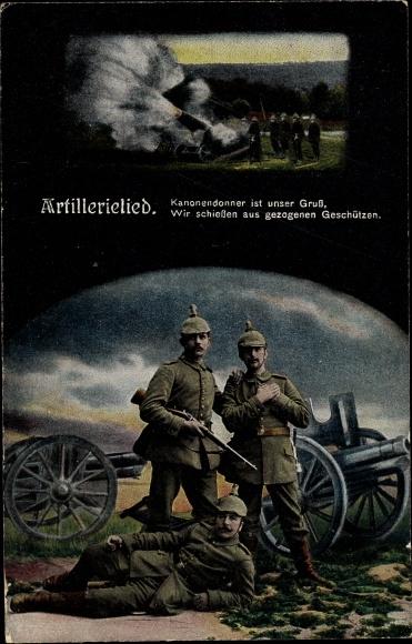 Ak Artillerielied, Kanonendonner ist unser Gruß, Soldaten, I. WK