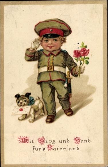 Ak Mit Herz und Hand für's Vaterland, Soldat, Rose, Hund