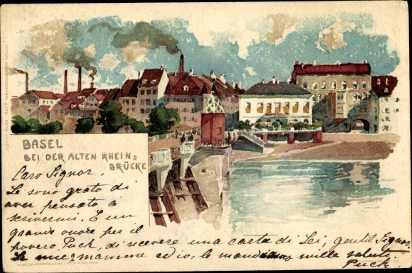 Litho Bâle Basel Stadt Schweiz, Bei der Alten Rheinbrücke